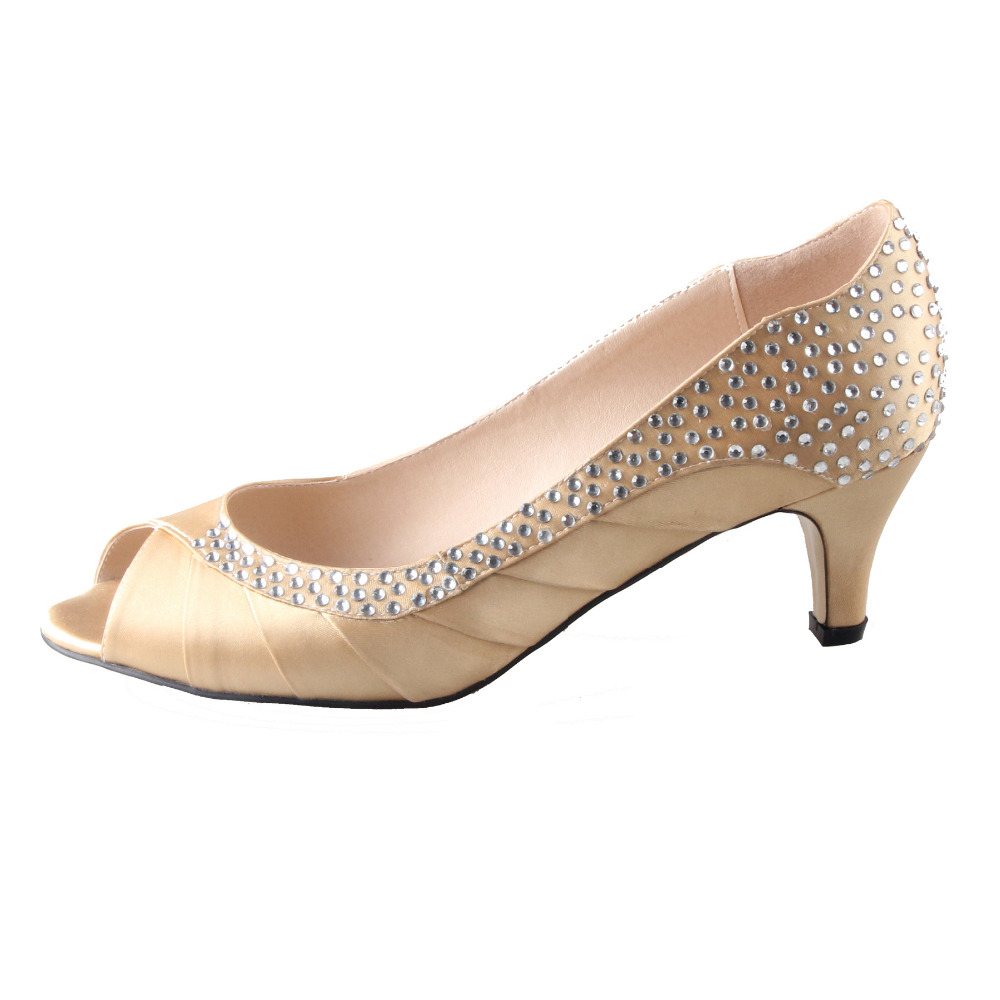 Handmade Light Gold Blonde Low Heel Rhinestone Diamand Pleated Open Toe Barn Wedding Shoes Mother Of Bride Dress Evening In Women S Pumps From
