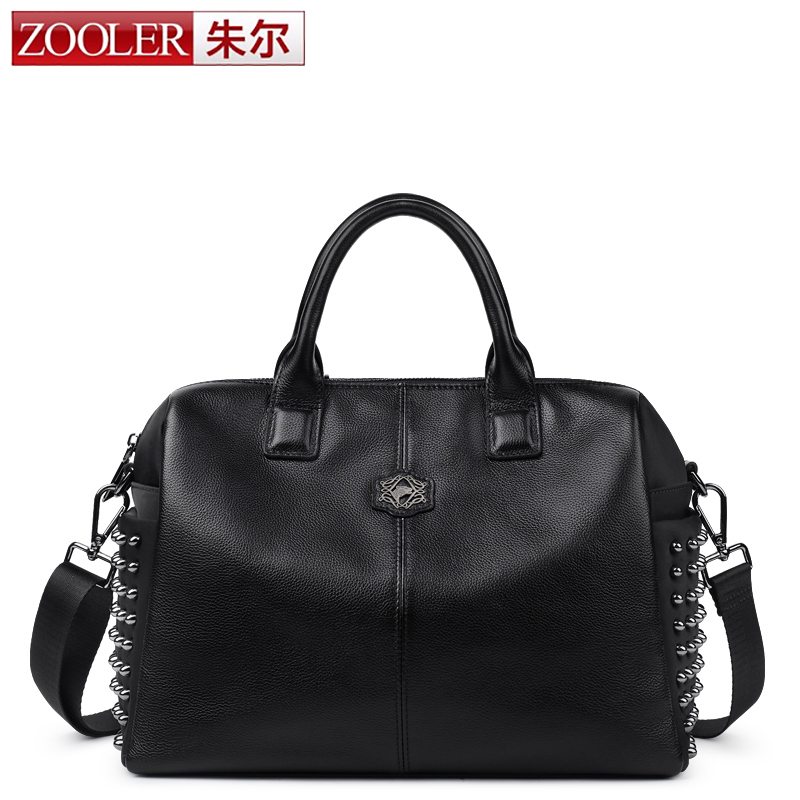 ZOOLER Black Rivet Genuine Leather Tote Bags Handbags Women Famous Brands Real Leather Shoulder Bag Ladies Messenger Bag Bolsas zooler fashion chains high quality genuine leather bags handbags women famous brand ladies cowhide messenger shoulder bag bolsas