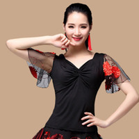 New Square Dance Clothing Adult Female Flower Short Sleeved Shirt Summer Net Yarn Slim Dress Show