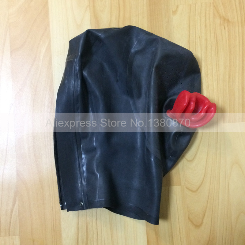 Latex Hood Mask Costumes with Red Latex Mouth Plug Open Eyes Holes S LM167