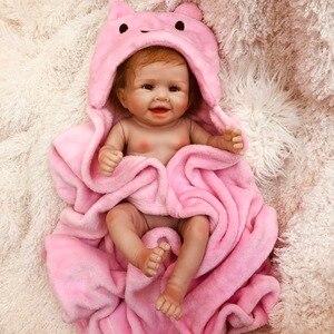 Кукла Reborn для девочек, 50 см, настоящая силиконовая кукла reborn Bebe, живая кукла с розовым банным халатом, силиконовая кукла reborn, настоящая игруш...