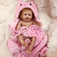 Reborn girl doll 50cm real silicone reborn Bebe alive doll with pink bathrobe Bonecas bebes reborn de silicone real toy gift