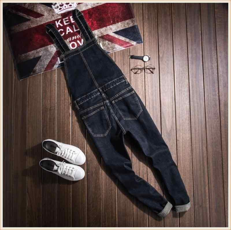 Korean style hip hop Plus Size 4XL Black Denim Slim Jumpsuit Male Suspender Bib Long Pants Fashion Casual Jeans Overalls 060806
