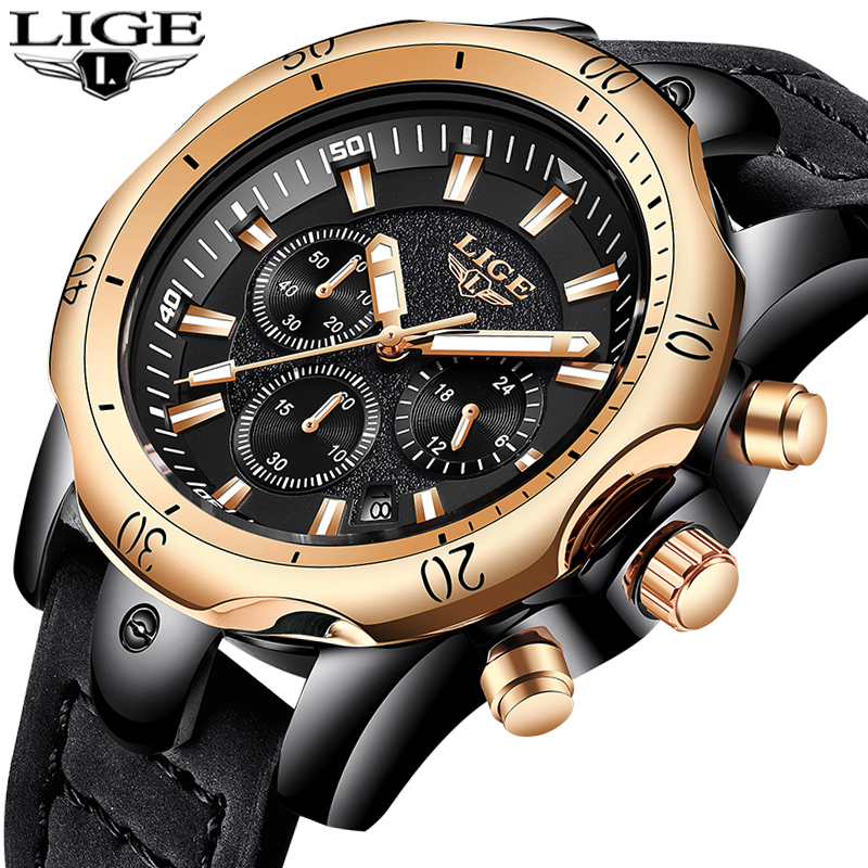 LIGE Mens Watches Top Brand Luxury Gold Quartz Watch Men Casual Leather Military Waterproof Sport Wrist Watch Relogio Masculino classic simple star women watch men top famous luxury brand quartz watch leather student watches for loves relogio feminino