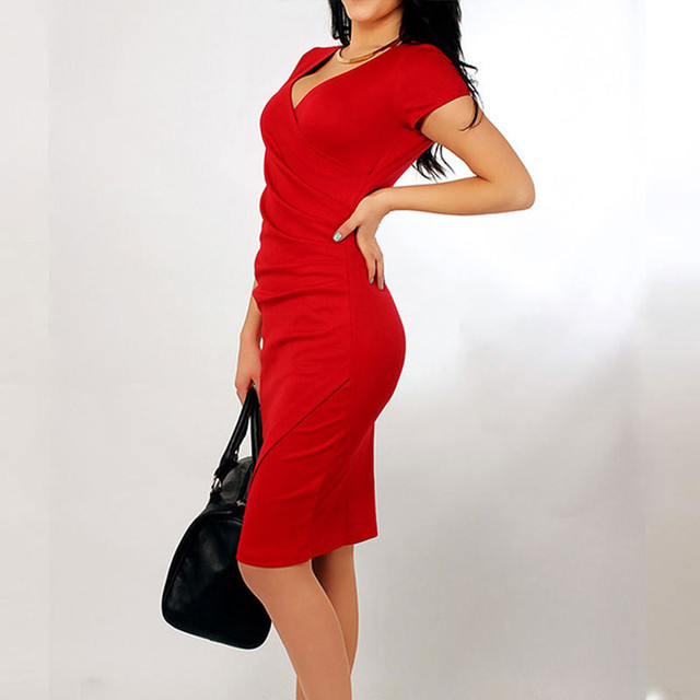 Irregular Candy Color Sexy V Neck Bodycon Office Dress Elegant Women Summer Silm Casual Pencil Bandage Dresses KH815062