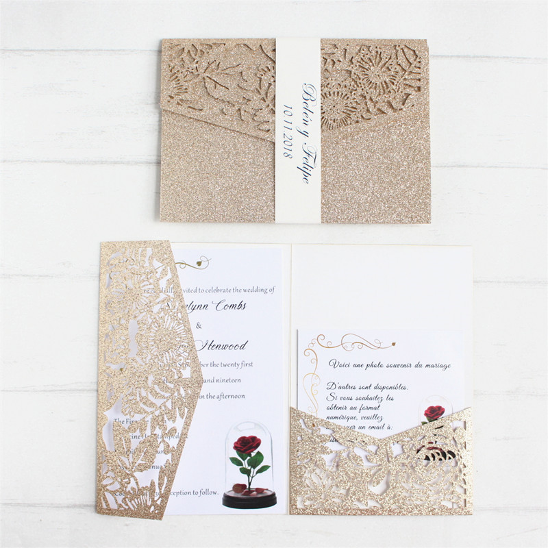 Luxury invite wedding with RSVP envelop belly band tri fold pocketfold wedding decoration customized supply free ship-in Cards & Invitations from Home & Garden    1