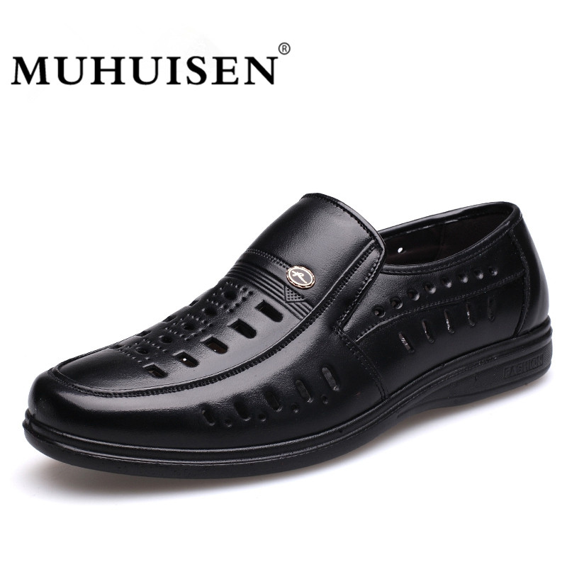 MUHUISEN Summer Mens Casual Shoes Hollow Out Breathable Male Flats Genuine Leather Fashion High Quality Business Shoes