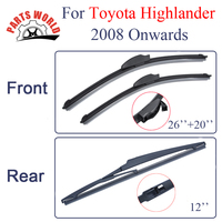 Combo Silicone Rubber Front And Rear Wiper Blades For Toyota Highlander,2008 Onwards,Windscreen Wipers Car Accessories