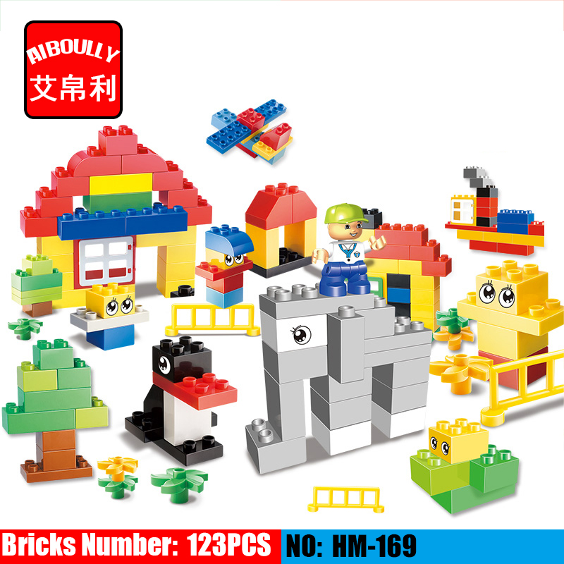 AIBOULLY HM169 123pcs Set Original Huimei Building Blocks Kids DIY Toys For Children Compatible Duploe Complement