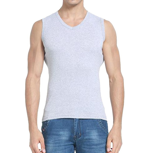 Heflash or 2018 الصيف بلون تانك القمم الرجال موضة الخامس الرقبة اللياقة البدنية قميص كمال الاجسام الذكور سترة دون أكمام عادية