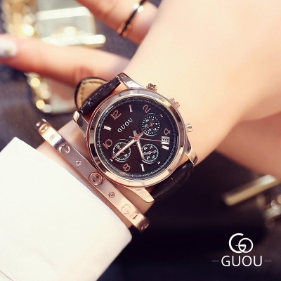 e5ef888b11e7 Top GUOU Watch Lady Brand Famous WristWatch Fashion Three eyes Luxury Women  Watches Waterproof Leather Quartz Watch Montre Femme-in Women s Watches  from ...