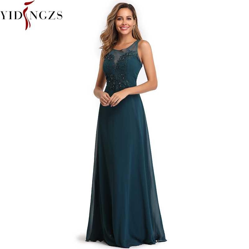 YIDINGZS элегантное шифоновое вечернее платье прозрачные аппликации бисером Длинные вечерние платья Robe De Soiree 2019