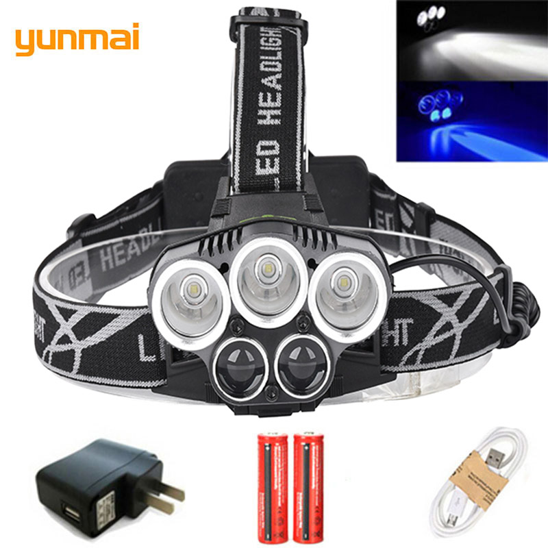 Blue/White <font><b>light</b></font> USB 5 led headlamp headlight NEW T6+Q5 head lamp <font><b>15000</b></font> <font><b>lumens</b></font> powerful led flashlight <font><b>bike</b></font> head torch lamp image