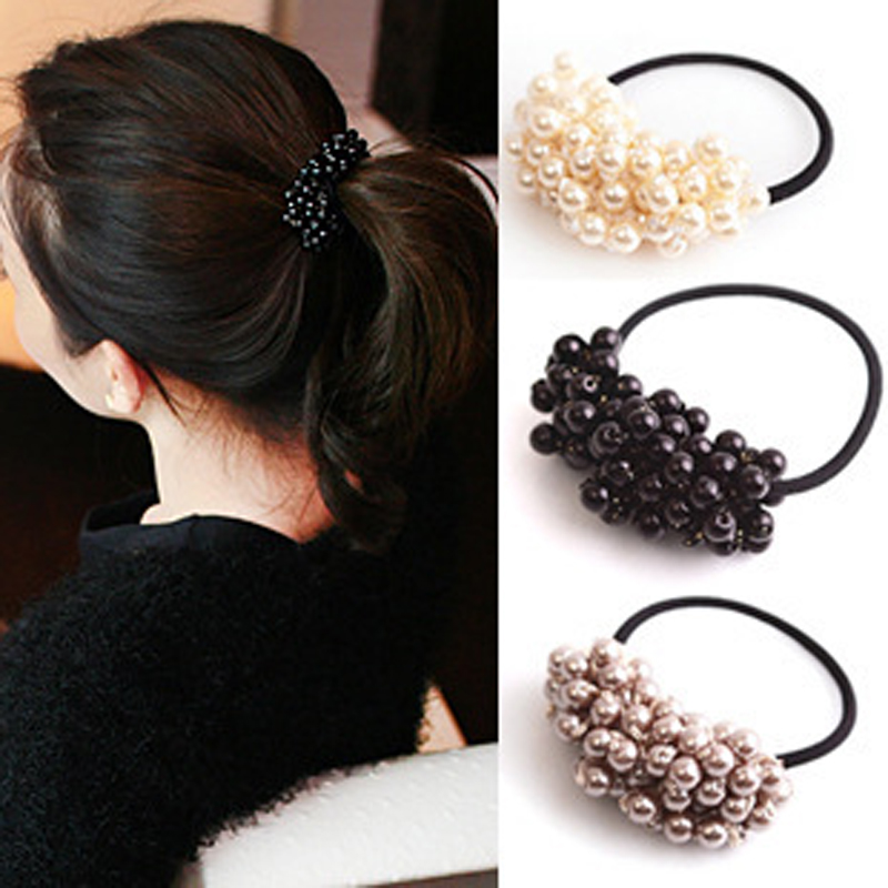 1Pcs Hair Accessories Pearl Elastic Rubber Bands Headwear For Women Girl Scrunchy Ponytail Holder Hair Ties Ornaments Jewelry halloween party zombie skull skeleton hand bone claw hairpin punk hair clip for women girl hair accessories headwear 1 pcs