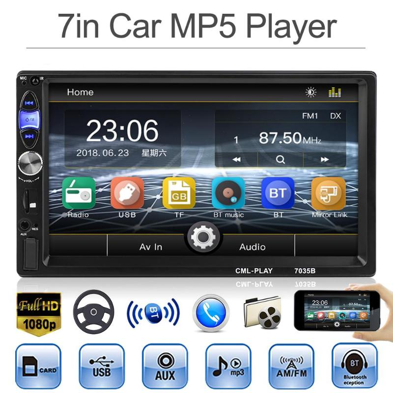 VODOOL 2DIN Bluetooth In Dash 7 1080P Car Stereo MP5 Player FM Radio With Rear View Backup Camera Reversing Display Monitor Kit new 7 inch 2din bluetooth car radio video mp5 player auto radio fm 18 channel hd 1080p in dash remote control rear view camera