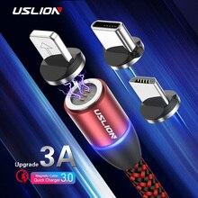 USLION 3а Магнитный кабель Micro usb type C кабель зарядное устройство для iPhone XS X 8 7 для samsung huawei type-c Магнитный кабель для быстрой зарядки