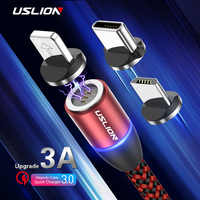 USLION 3A Magnetic Cable Micro USB Type C Cable Charger For iPhone XS X 8 7 For Samsung Huawei Type-c Magnet Fast Charging Cable