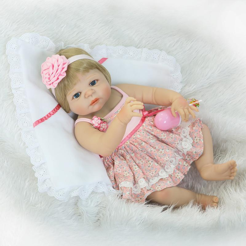 все цены на 23 Inch/57cm Full silicone body reborn babies girl Sleeping dolls Girls Bath Lifelike Real Vinyl Bebe Brinquedos Reborn Bonecas онлайн