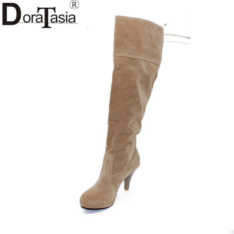 DoraTasia 2017 New Arrival Slip On Women Winter High Heels Knee High Women Winter Boots Round Toe Solid Fashion Shoes Ladies 2017 shoes women med heels tassel slip on women pumps solid round toe high quality loafers preppy style lady casual shoes 17