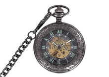 High Quality New Steampunk Face Retro Pendant Pocket Watch For a Gift Skeleton Mechanical Black Open