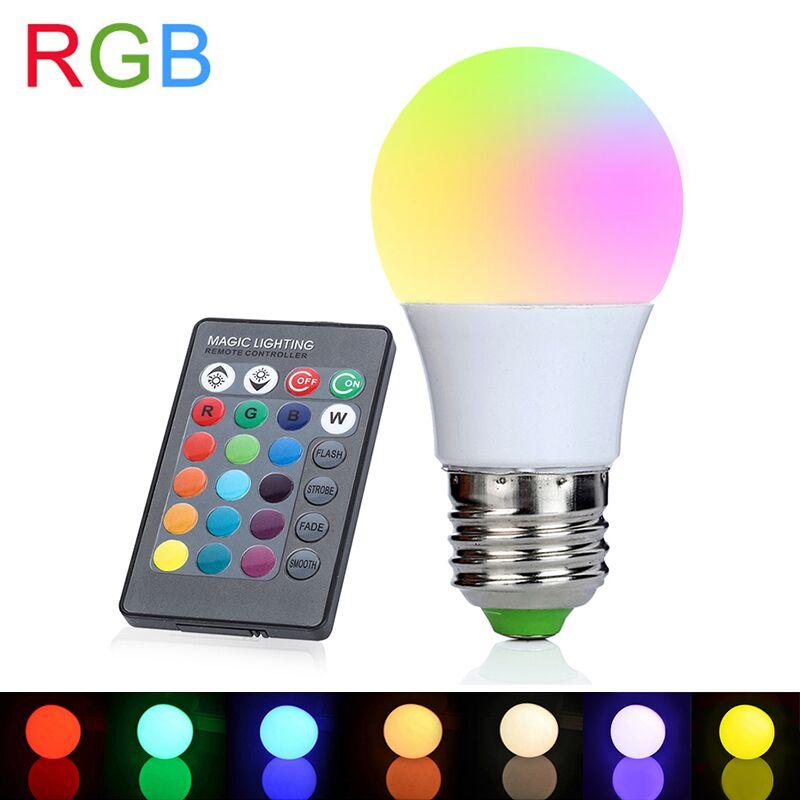 E27 RGB светодиодные лампы 3 Вт 110 В 220 В Светодиодная лампа 16 Цвета с ИК-пульта дистанционного управления лампада огни для украшения дома праздник