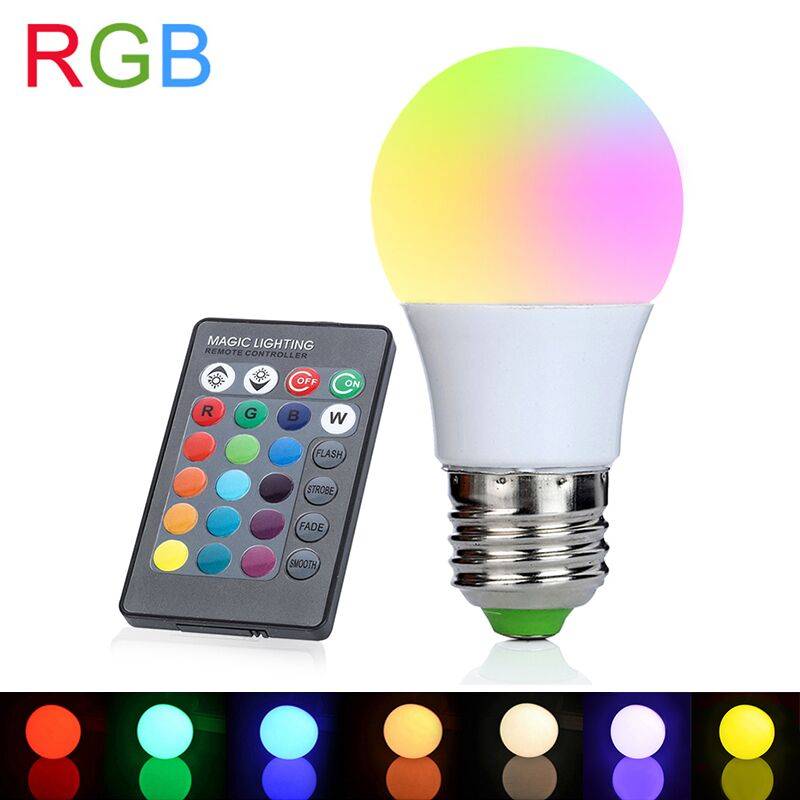 E27 RGB LED Bulb 3W 110V 220V LED Lamp 16 Colors with IR Remote Controller Lampada Lights for Home Holiday DecorationE27 RGB LED Bulb 3W 110V 220V LED Lamp 16 Colors with IR Remote Controller Lampada Lights for Home Holiday Decoration