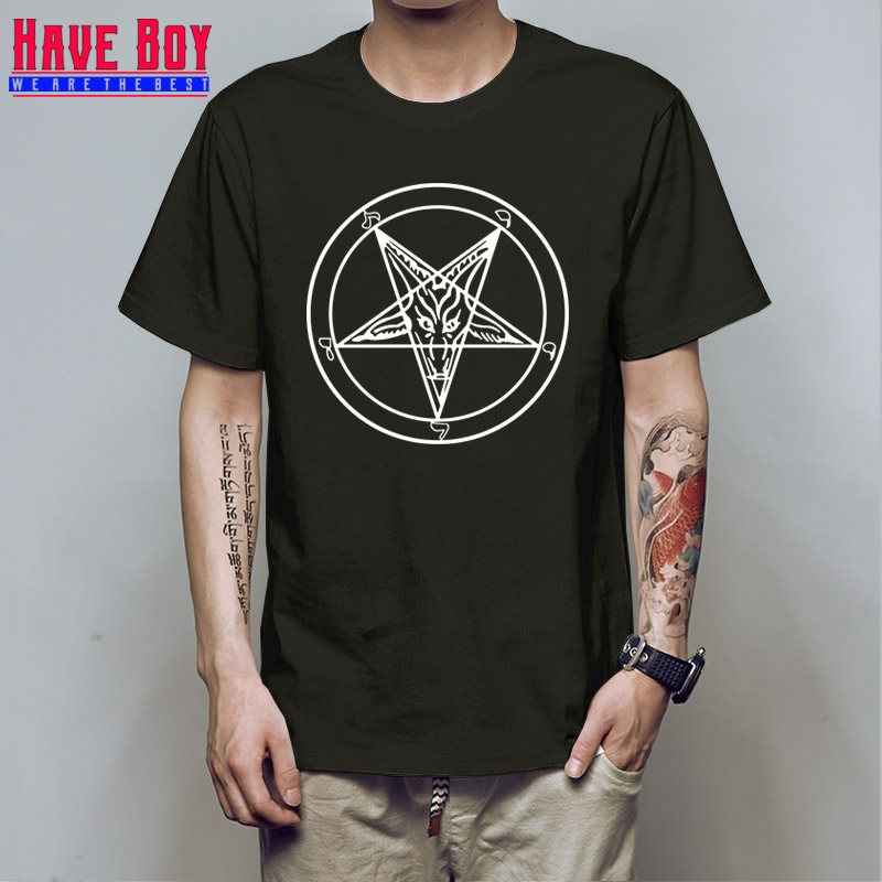 HAVE BOY Satanic Goat Baphomet Cartoon   T     Shirts   Men Cotton Short Sleeve Printed   T  -  shirt   Brand Tops Men Clothings HB393