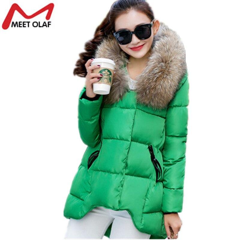 2017 Winter Jackets Women Winter Coats Fur Hooded Thick Warm Parka Fashion Irregular Hem Female Snow Wear Outwear Overcoat YL899
