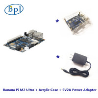 One Complete kits  Banana Pi M2 Ultra+Acrylic Case+DC Power supply