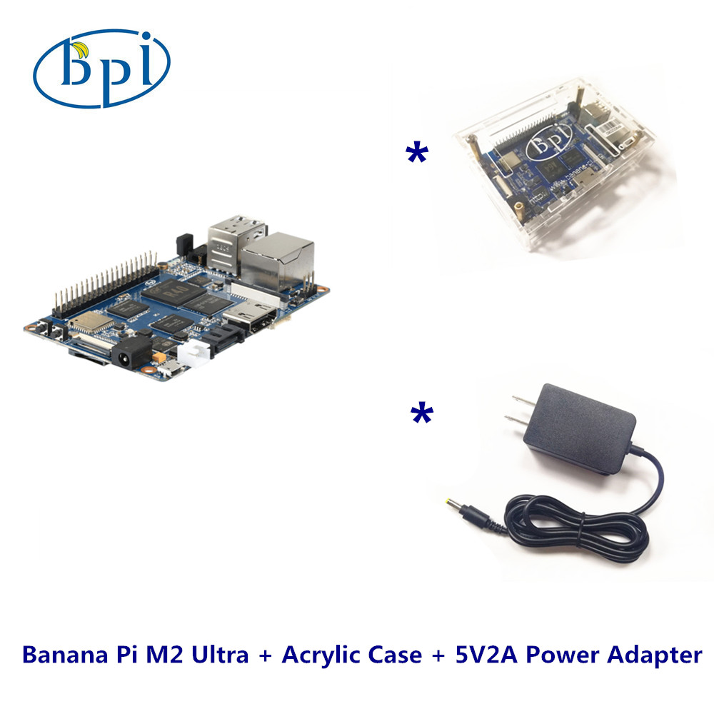 Un Complet kits Banane Pi M2 Ultra + Acrylique Cas + DC alimentation