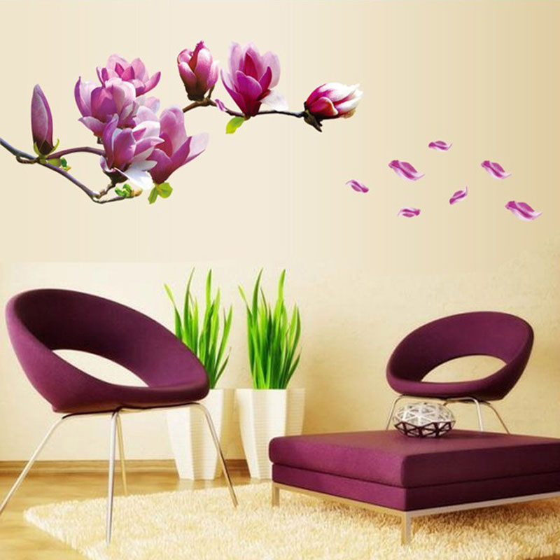 Purple Romantic Big Flower Wall Stickers Home Decor: Purple Magnolia Flower Wall Stickers Bedroom Parlor Wall