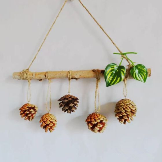 Rustic Pine Cone Accessories Dried Branch Plastic Cane Xmas Tree Decorations  Wedding Party Hanging Home Wall Door Ornament In Party DIY Decorations From  ...