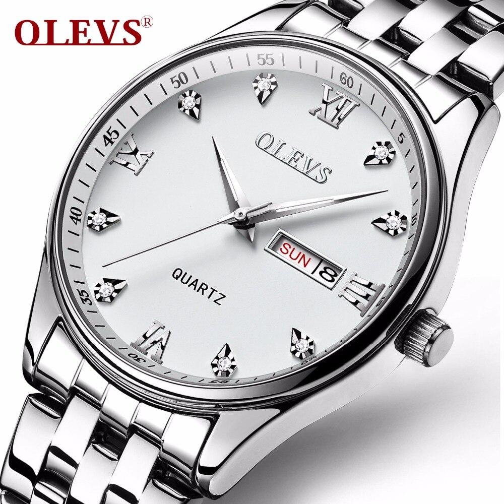 Olevs новых людей хронограф наручные часы Водонепроницаемый Дата Топ Элитный бренд Нержавеющаясталь Diver мужчины Женева Кварцевые часы свето...