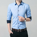 Spring hot sale 2016 new Korean version of cultivating long-sleeved men's casual shirt plus size code M-5XL Men tide (sweater)