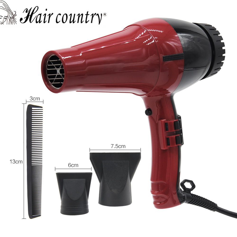 Hair Country Professional Hair Dryer Salon Hot and Cold Wind Blow Dryer Hair Dryer Nozzle Styling Tools 1800-2000W 2017 professional hair dryer fast styling tools hot and cold air home use hairdryer black hair blow dryer with diffuser nozzle