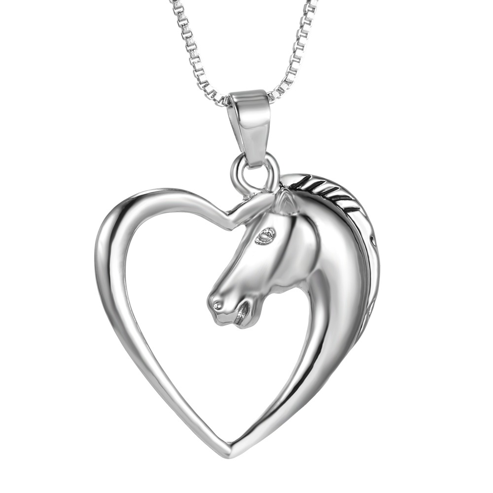 horse necklace horse jewelry plated white K heart Necklace Pendant Necklace for women mom gifts animal horse Unicorn necklaces