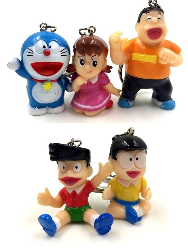 5PCS/LOT 3-4cm Japanese anime figure Q version doraemon keychain action figure collectible model toys for boys