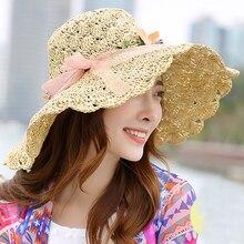 f182da0f5f2e4 HT1683 ESTILO DE COREA sombreros de verano para mujeres flor Garland gorra  de ala ancha playa sombrero plegable Crochet Floppy s.