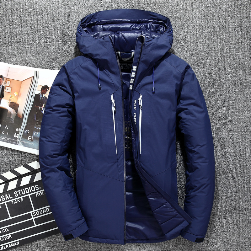 цены White Duck Down Jacket Men Winter Thickened Warm Hooded Fashion Casual Zipper Men Coat Masculine Jackets
