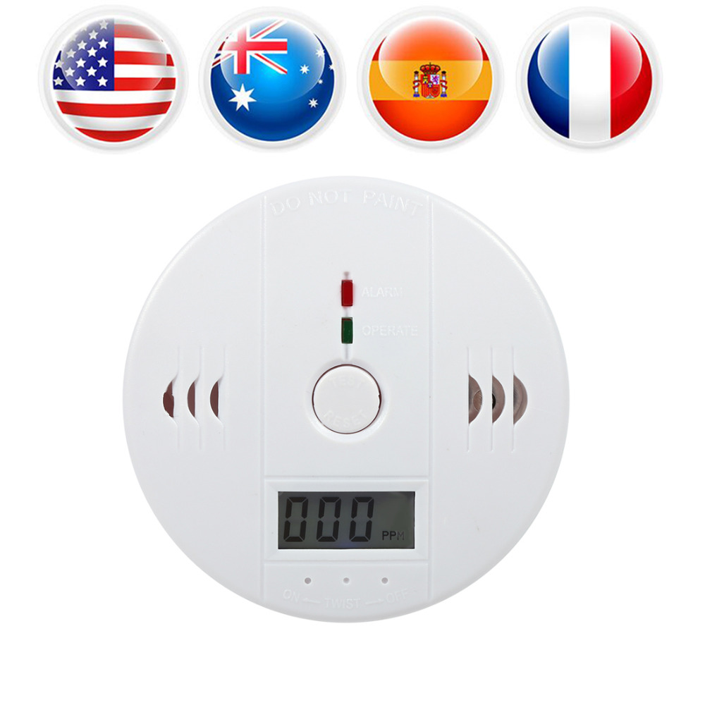 LCD Display CO Carbon Monoxide Alarm Detector Sensor Tester Home Security Safety CO Gas Alarm with Sound Light Alarm Warning