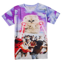 Kitten Laser Cats 3D Printed Tees Lightning Beach Graphic T Shirt Space Galaxy T Shirt Men