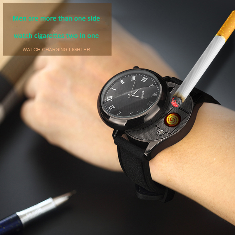 Montre allume-cigare pour hommes, montre-bracelet à Quartz avec chargeur USB, sans flamme, fil chauffant remplaçable, horloge BL559