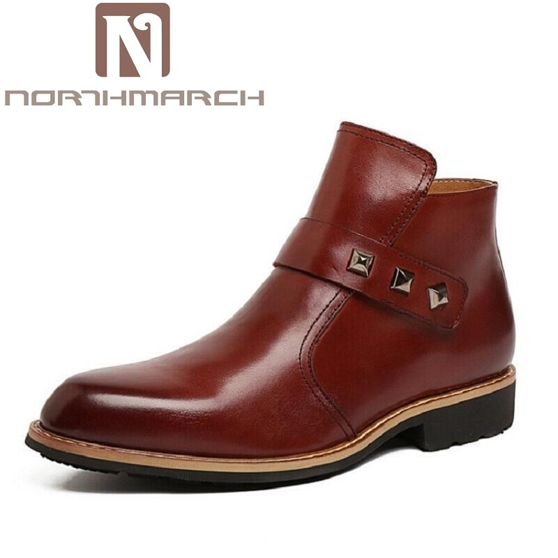 цена на NORTHMARCH Brand Men High Quality Cow Split Leather Ankle Boots Male Winter Leisure Party Retro Motorcycle Shoes Men Rivet Boot