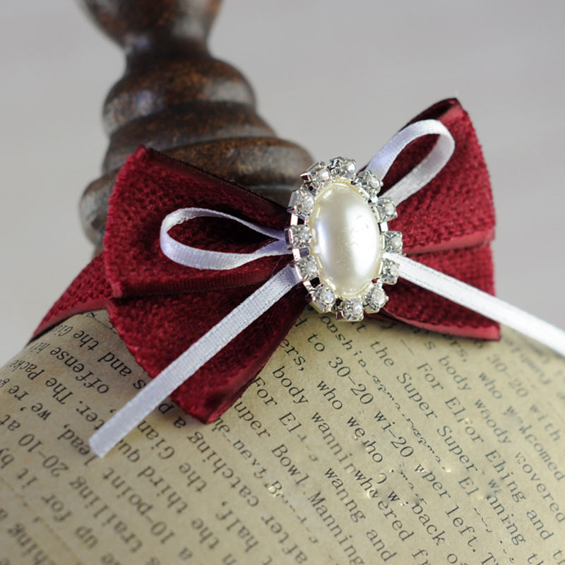 Cute rhinestone pearl Dog luxury wedding Collar Dog cat pet Princess Bow Tie jewelry accessory dog puppy necklace Collar
