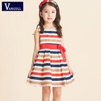 Girl Princess Dress 2016 New Fashion Brand Children Girls Summer Chiffon Bow Striped Dresses Clothing Baby