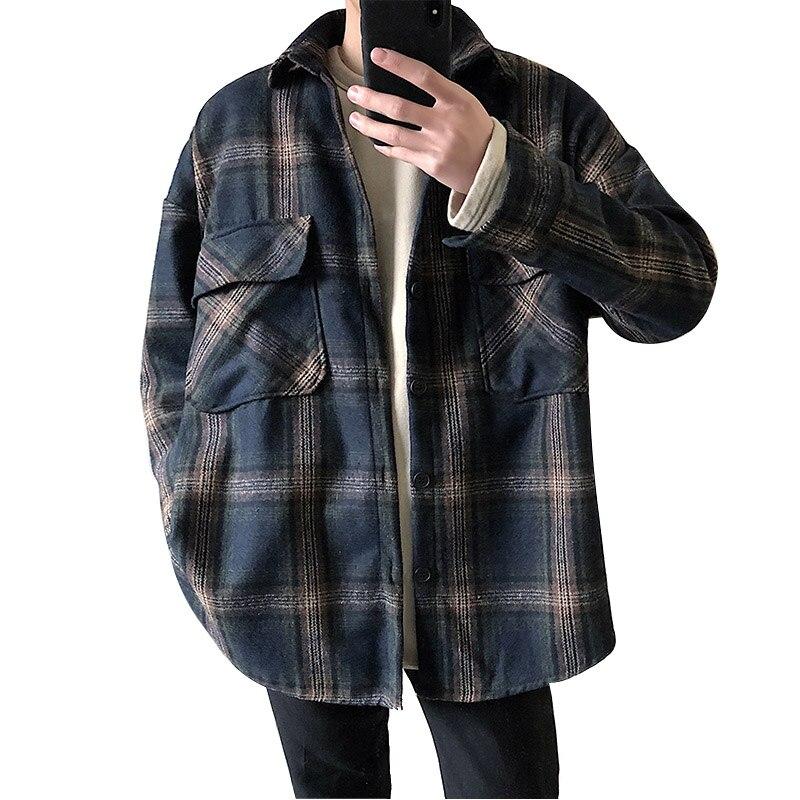 Men Retro Plaid Loose Casual Thick Shirt Jacket Male High Street Fashion Hip Hop Long Sleeve Shirt Coat Рубашка
