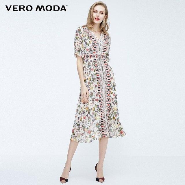 Vero Moda חדש בוהמי רקום לקשור בינוני וחצי-שרוול ארוך שמלת | 31826Z553