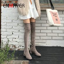 ENMAYER Over The Knee High Boots Flock Women Boots Square Slip-On Round Toe Heel Winter Stretch Lycra Women Shoes Size 34-43