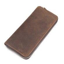 Crazy horse, long wallet, mens old leather, leather handbag, hand bag, pocket 8875.