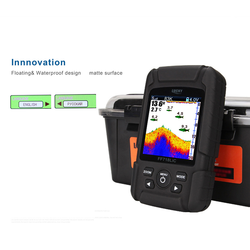 """Image 4 - LUCKY Portable Fish Finder 2.8"""" Color LCD 100M Depth Detection Dual Sonar Frequency Fishfinder Wired FF718LiCD T-in Fish Finders from Sports & Entertainment"""